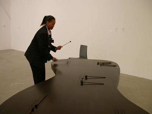 Doug Aitken's table, Linda on the mallets