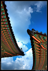 Soaring to Heaven (OUR WORLD/EXPOSED) Tags: blue roof sky detail colors asian woodwork rainbow bravo colorful angles palace korea seoul oriental hdr gyeongbokgung chosun joseon supershot gyeongbukgong hanbando jeoson theunforgettablepictures theperfectphotographer myeongseong