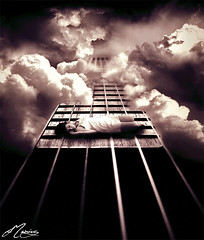 Echoes (Felipe Morin) Tags: sky night photomanipulation photoshop guitar surrealism dream surreal unreal eternity dreamscape