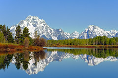 Reflection at Oxbox Bend (bhophotos) Tags: travel blue trees usa white snow mountains reflection green nature water river landscape geotagged spring nikon day clear explore snakeriver wyoming tetons frontpage jacksonhole grandtetonnationalpark oxbowbend mtmoran 80200mmf28dnew d700 projectweather bruceoakley