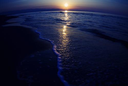 フリー写真素材, 自然・風景, 海, ビーチ・砂浜, 夕日・夕焼け・日没, 日本,