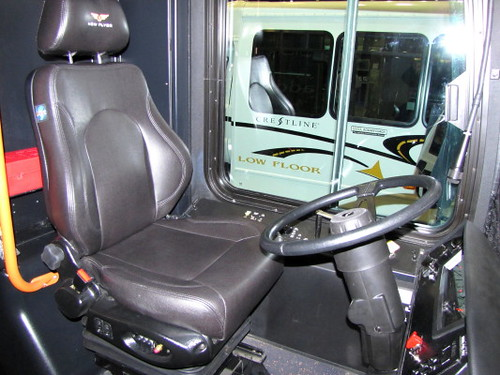 New Flyer hybrid bus driver seat. Trans-Expo 2010 Shows Hybrid Diesel-Electric, GPS, Wi-Fi, Solar-Power & H.264 Technologies in Public Transit Buses