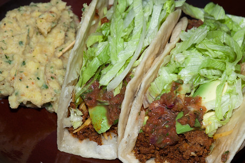 Chorizo Tacos with Roasted Tomato Salsa and Sweet Potato Mash