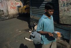 kolkata, india, 2005 (ericinrok) Tags: street travel boy india film cow tea communist ambassador provia kolkata chai calcutta magnumesque