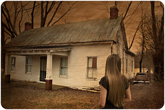 A Meeting of the Minds (deatonstreet) Tags: old sunset house color abandoned girl car vintage lowlight kentucky explore memory past modernruins