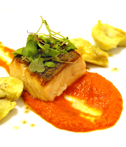 Seared Salmon Steak with Artichokes and Roasted Red Pepper Sauce