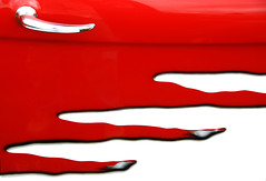 Fire Door (showbizinbc) Tags: auto red classic car paint reddoor chrome decal redandwhite peopleschoice showandshine cardoorhandle photology aplusphoto superhearts
