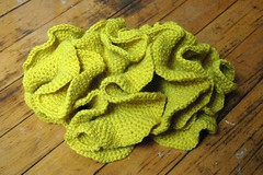 yellow double spiral unfurled (sweetie pie press) Tags: crochet craft mathematics hyperboliccrochet