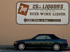 Free Parking in Rear... (paulmcaleer) Tags: street old red urban brown building green car sign wall logo painted tan convertible handpainted signage bmw liquors sanmateo 7up tz1 25thave 25thaveliquors