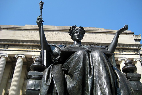 Photo of Columbia Universitys Minerva sculpture, Alma Mater, by wallyg.