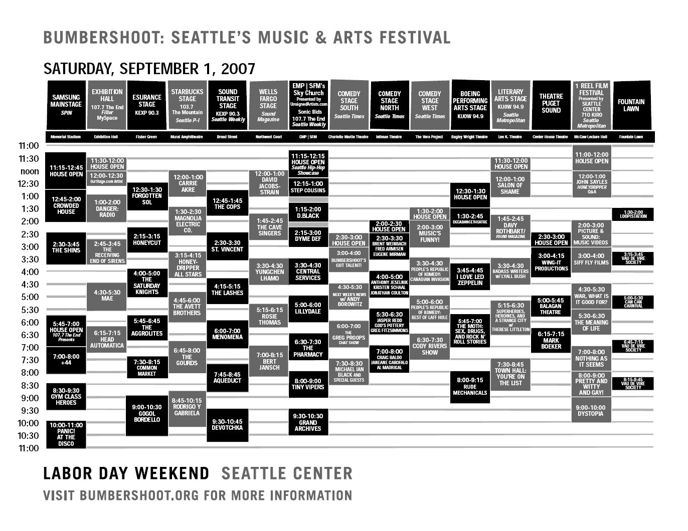 Bumbershoot 2007 Festival Schedule - Saturday 9/1