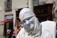 Marble Human Statue at La Rambla, Barcelona - by Carlos Lorenzo