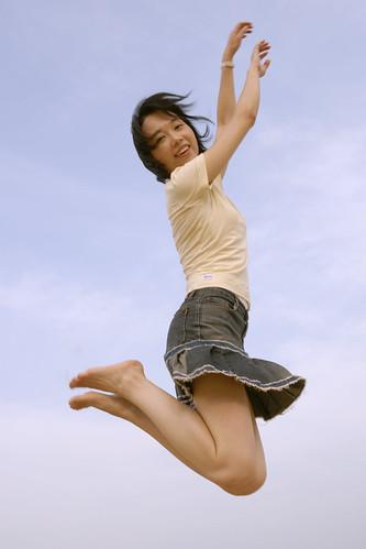 フリー写真素材, 人物, 女性, アジア女性, 跳ぶ・ジャンプ, 中国人,
