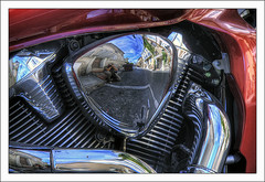"""After Lomo, here is """"Moto-effect"""" (Anakronik) Tags: street red france reflection me canon rouge bravo searchthebest moi motorbike chrome moto motor ruelle rue f11 eos350d reflets hdr arnaud biot moteur 100iso efs1785isusm cylindre 3ex mywinners anakronik goldenphotographer potdéchappement culasse"""