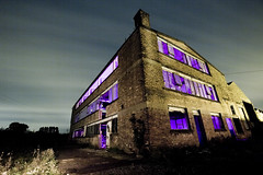 Abandoned Factory ([Nocturne]) Tags: lighting longexposure nightphotography light sky lightpainting building abandoned night canon painting photography eos photo exposure purple nighttime pollution nocturne 30d thenight flashgels noctography