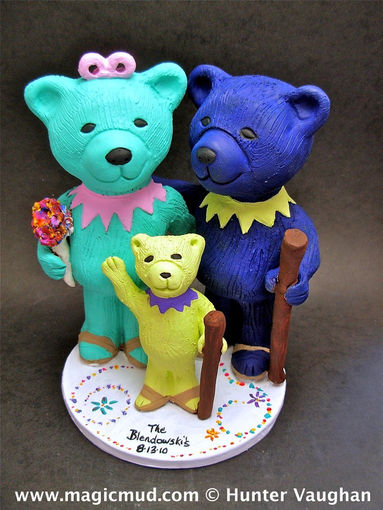 Mother and Father Bear with Baby Bear Wedding Cake Topper