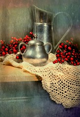 Silver and Berries (floralgal) Tags: stilllife texture silver berries redberries lacetablecloth tabletopstilllife classicstilllife silverpitcher silversugarbowl berriesandpitcher