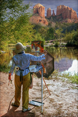 red rock crossing - sedona arizona (Dan Anderson (dead camera, RIP)) Tags: arizona reflection art painting landscape artist sedona az painter cathedralrock easel artistatwork oakcreek redrockcrossing painterpainting painteratwork painterspainting