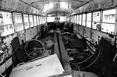 No School Today (peterkelly) Tags: windows bw ontario canada abandoned film yard junk guelph canadian northamerica junkyard schoolbus derelict wrecking rockwood wreckers