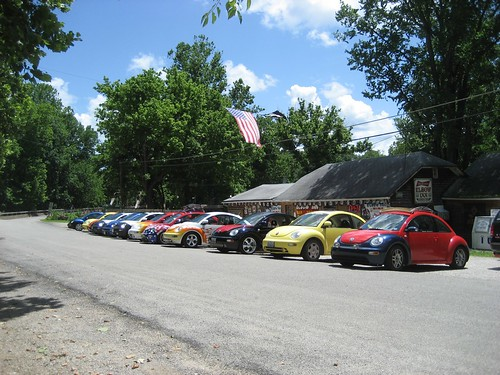 Beetles in front of the Elbow Inn