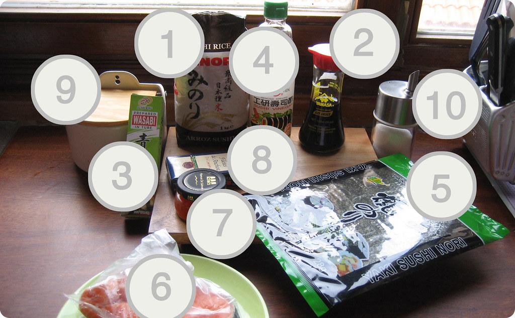 Ingredientes para hacer sushi