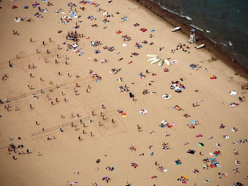 Crowded Beach on a summer day