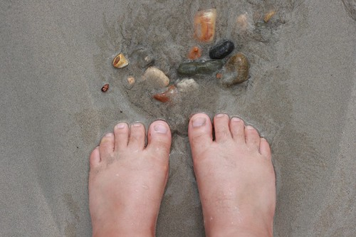 My toes, in the water