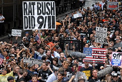9/11 was an inside job ?! (Hughes Léglise-Bataille) Tags: street new york nyc usa ny topf25 wall us bush nikon truth manhattan politics 911 protest photojournalism theory 11 september demonstration conspiracy terrorism d200 2007 topv1000 topv2000 conspiration