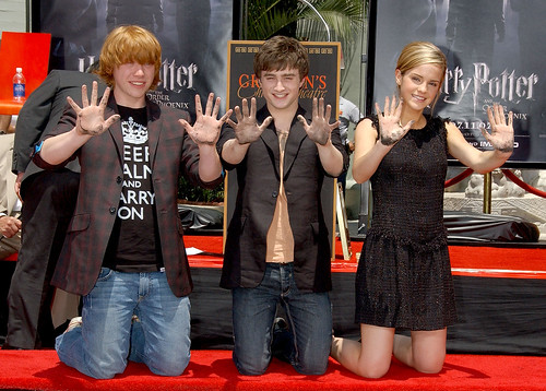 Actor Rupert Grint, actor Daniel Radcliffe and actress Emma Watson