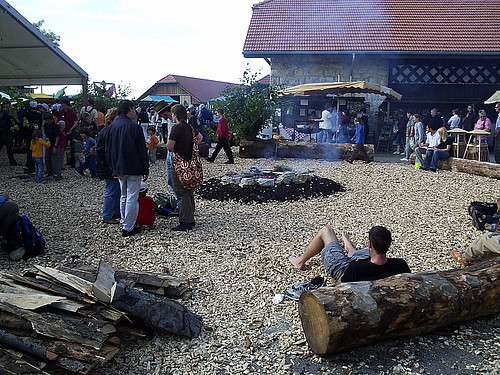 A campfire at the organic market to relax around