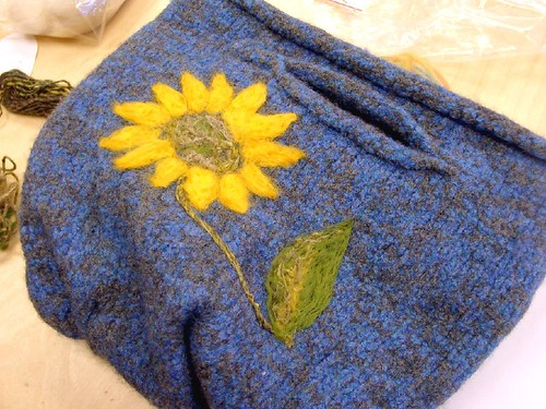Katie's sunflower felted bag