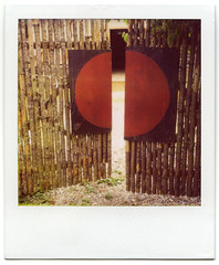 Red Spot (Voxphoto) Tags: fence polaroid gate annarbor 600 sq notfake sx70model2 projectmaw adaptedfor