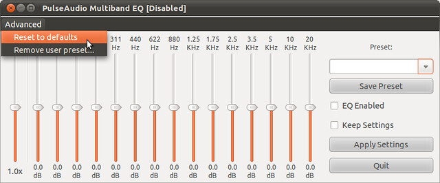 Figura 6 - Rimozione profili utente e ripristino valori di default di PulseAudio Equalizer;
