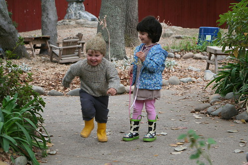 Asher and S in the Kindergarten Yard