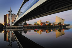 UK - Manchester - Salford - Dockside reflection v2 (Darrell Godliman) Tags: uk greatbritain travel bridge engla