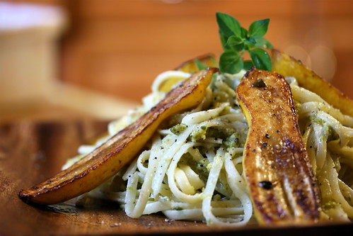 Garlic Scape Pesto and Pan Seared Summer Squash