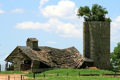 Tired old barn and silo with tree - explore (Marvin Bredel) Tags: building oklahoma barn rural farm silo explore marvin ruraldecay dilapidated interestingness244 i500 marvin908 bredel marvinbredel