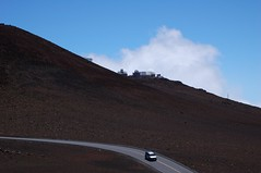 The road up the peak of the Haleakala volcano where there's an observatory.