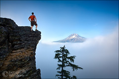 Edge of the Earth (Zack Schnepf) Tags: blue camping summer cliff mountain man fog oregon landscape outdoors volcano bravo hiking adventure climbing backpacking cascades mthood hiker climber zack mounthood courage mand peopleschoice naturesfinest magicdonkey 3000v120f perfectangle colorphotoaward aplusphoto superhearts frhwofavs theperfectphotographer ostrellina zackschnepf alemdagqualityonlyclub bjergbestiger