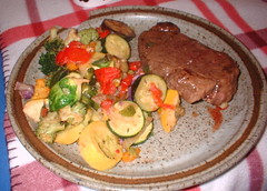 steak & mixed vegetables dinner