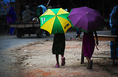 Companions [..Chuadanga, Bangladesh..] (Catch the dream) Tags: street girls friends summer umbrella colorful pattern village walk candid promenade dailylife walkers bangladesh companions villagemarket chuadanga alamdanga ailhash gettyimagesbangladeshq2