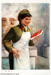 What I longed for has arrived (chineseposters.net) Tags: china woman kitchen poster soldier book propaganda chinese apron 1978