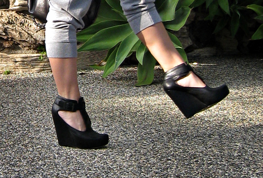 velvet angels naked lunch bootie+wedges with sweat pants