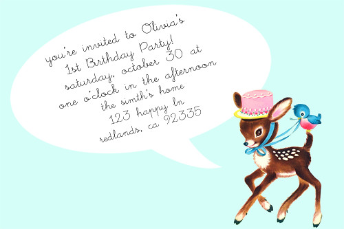 Vintage birthday Invitation Aqua deerr 7w x 5h Invit