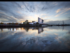 Explosion of sky above Imperial War Museum North. Explored! and FrontPage! (Ianmoran1970) Tags: sky cloud colour reflection water museum manchester dock war explosion remembrance salford quays frontpage lowry explored ianmoran ianmoran1970