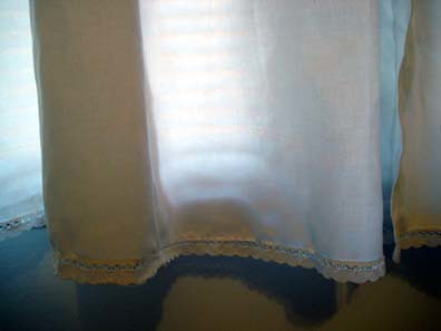 Duvet cover curtains, lace detail.