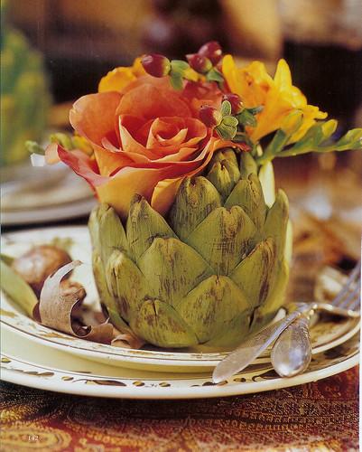 artichoke + fall roses