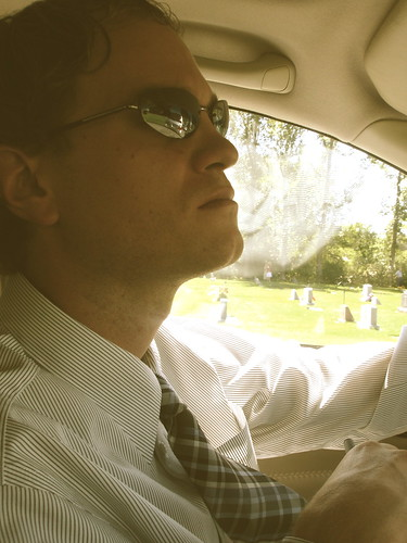 Ryan in the car at the cemetery