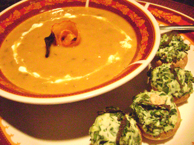 pumpkin soup and stuffed mushrooms