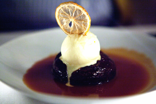 Sticky toffee pudding with Armagnac ice cream and hot caramel sauce